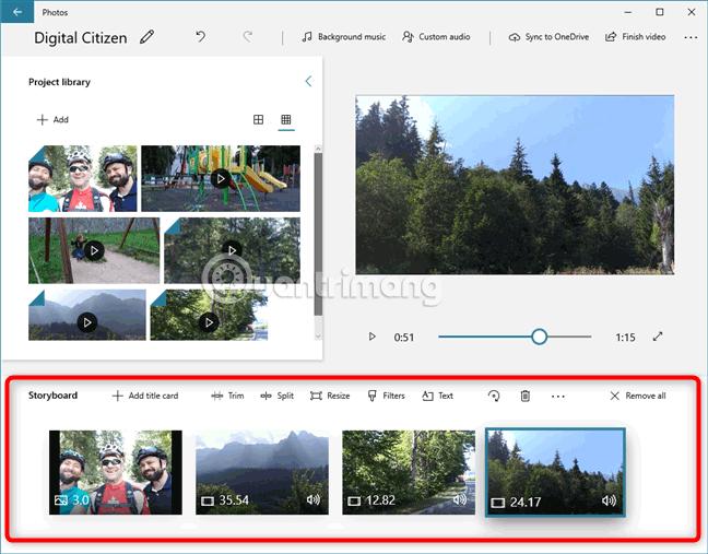 Các tính năng của Video Editor