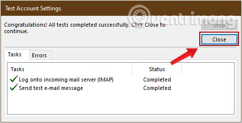 Thông báo kết nối Gmail vào Outlook thành công
