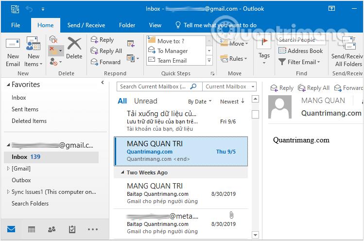 Click vào Inbox để xem hộp thư đến trong tài khoản Gmail