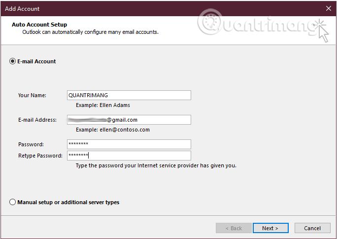 Nhập tên, địa chỉ Gmail và mật khẩu đăng nhập tài khoản Gmail