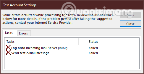 Kết nối Gmail vào Outlook không thành công