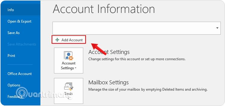 Chọn Add Account trên giao diện Account Information