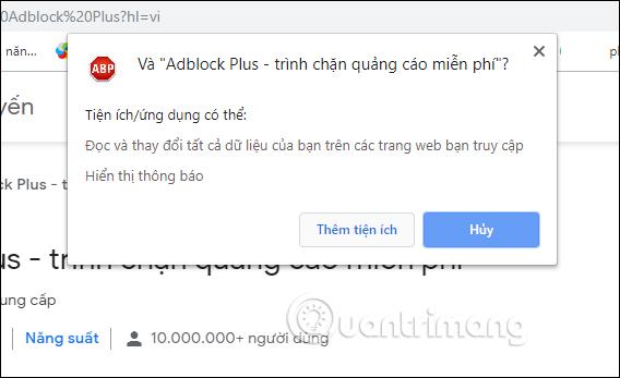 Cài đặt tiện ích Adblock Plus