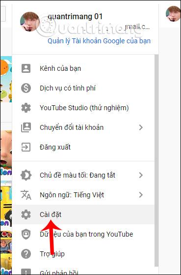 Cài đặt YouTube