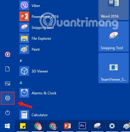 Nhấn chọn biểu tượng Settings trong Start Menu