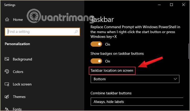 Tìm mục Taskbar location on screen trong cài đặt Taskbar