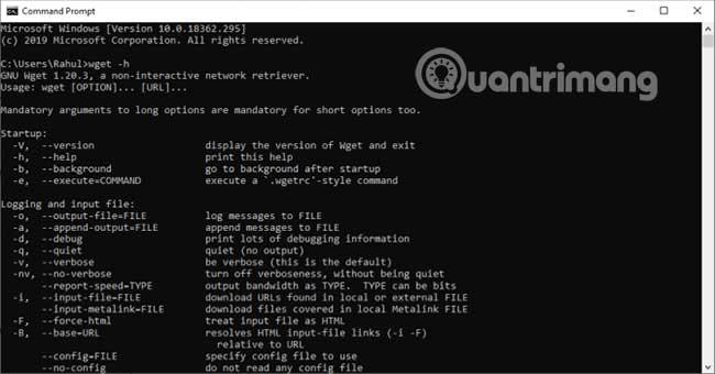 Trong PowerShell, gõ wget.exe -h để tải menu trợ giúp Wget