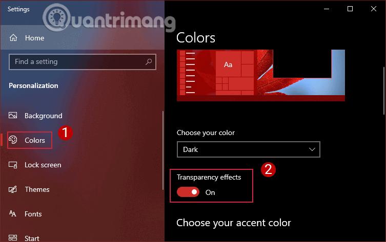 Chuyển tùy chọn Transparency effects sang chế độ ON