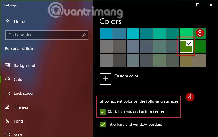 Chọn màu và tích chọn thêm tùy chọn Start, taskbar, and action center