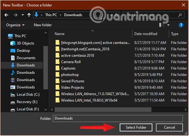 Chọn thư mục để thêm Toolbar