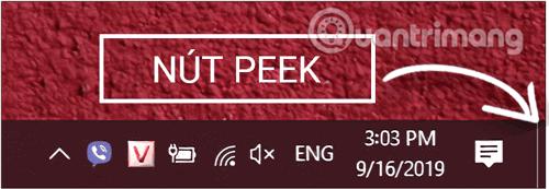 Nút Peek trên thanh taskbar