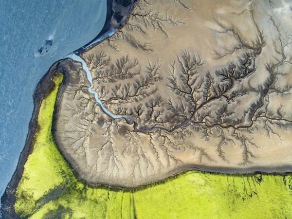 """Bài thi """"Tree of Life"""" của Florian LeDoux chụp từ trên cao nước tại vùng cát lún, Iceland"""