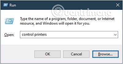 Nhập lệnh điều khiển máy in trong cửa sổ lệnh Chạy và sau đó bấm OK