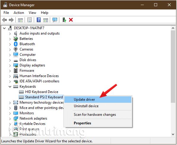 Nhấp chuột phải vào Bàn phím bạn sử dụng, chọn tùy chọn Cập nhật trình điều khiển