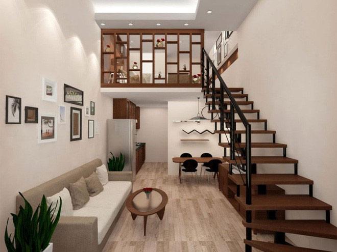 Gác lửng được thiết kế thành phòng ngủ, mặt sàn phía dưới là nơi sinh hoạt chung của gia đình