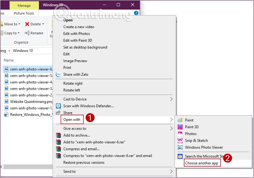 Chọn Windows Photo Viewer làm mặc định