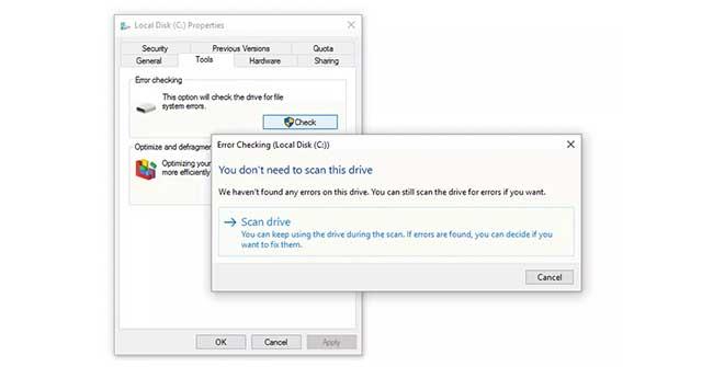 Cách quét ổ cứng bằng Error Checking