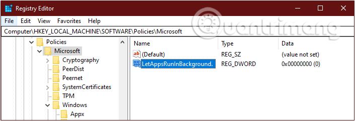 New > DWORD (32-BIT) Value, đặt tên key mới là LetAppsRunInBackground