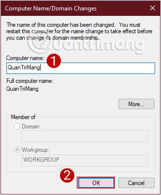Đặt tên mới cho máy tính rồi nhấn OK