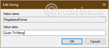 Đổi tên mới cho máy tính win 10 trong khóa Registered Owner