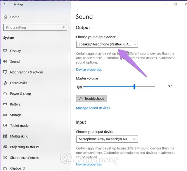 Click vào hộp thả xuống trong Output và chọn đúng loa