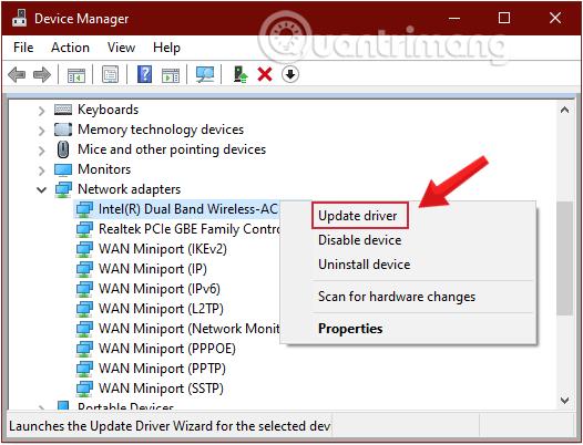 Kích chuột phải vào adapter mà bạn sử dụng, chọn tùy chọn Update driver