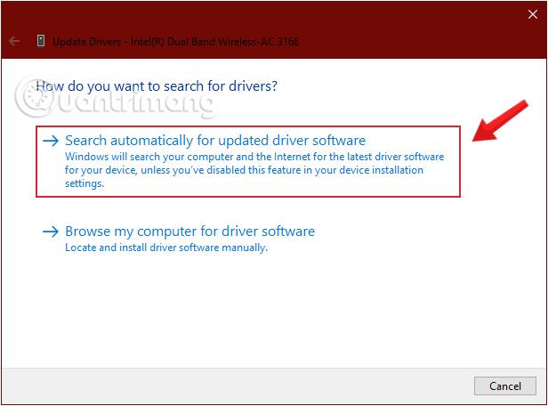 Yêu cầu Windows tìm driver bằng cách click chọn Search automatically for updated driver software