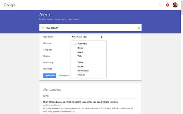 Google Alerts sẽ trả về cho bạn tất cả những thông tin liên quan đến từ khóa mà bạn đang quan tâm