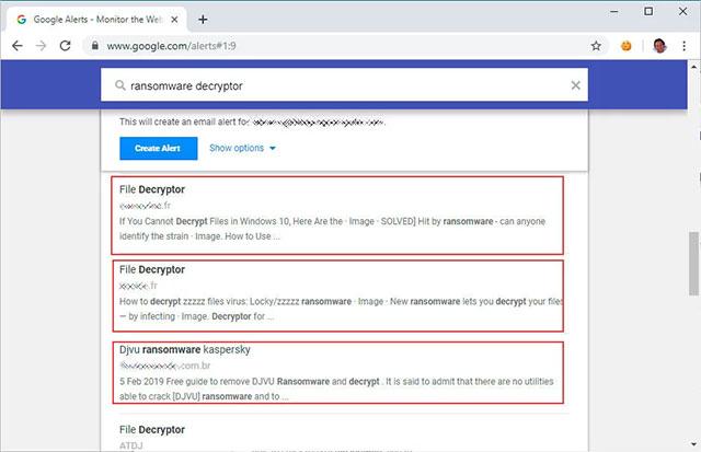 Kết quả Google Alerts cho những thông tin có liên quan đến bộ giải mã ransomware