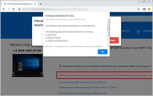 Chuyển hướng đến một trang web lừa đảo dưới hình thức hỗ trợ công nghệ
