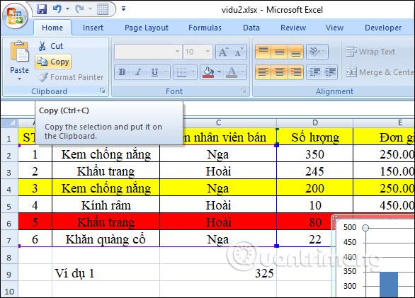 Hướng dẫn sao chép biểu đồ Excel sang Word