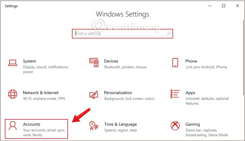 Nhấn chọn Account trong Windows Settings