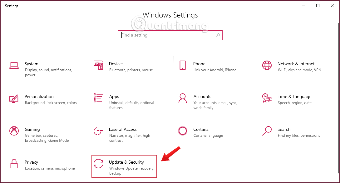 Nhấn chọn Update & security trong Windows Settings