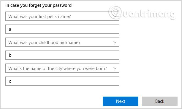 Thêm các câu hỏi bảo mật phòng trường hợp quên mật khẩu user