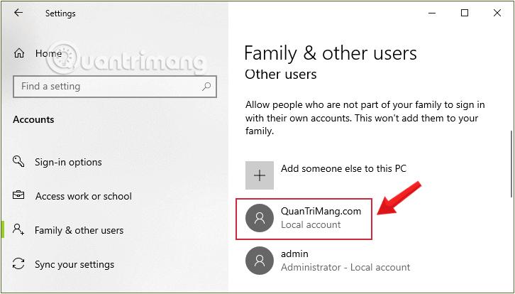 Tài khoản user Windows vừa tạo xuất hiện trong Other User ở mục Local Account