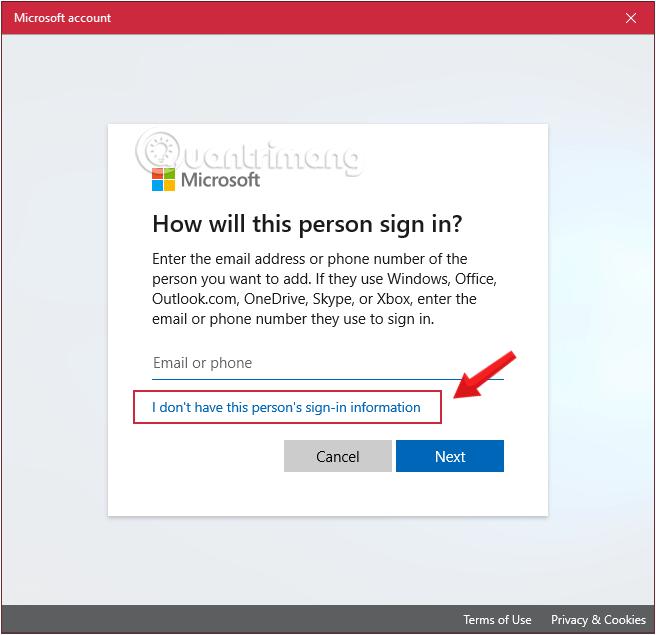 Nhấn vào phần I don't have this person's sign-in information để tiếp tục tạo tài khoản user Windows 10