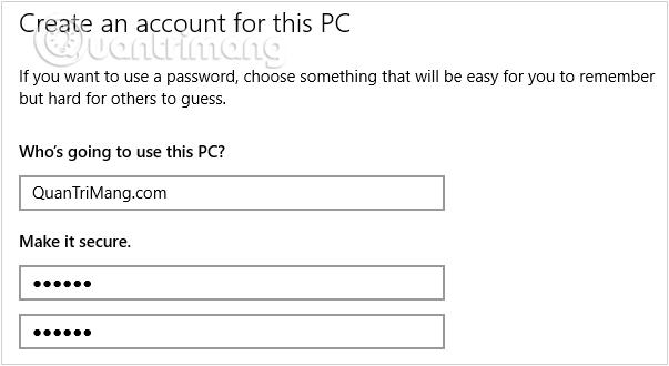 Điền thông tin tài khoản mới, mật khẩu đăng nhập user