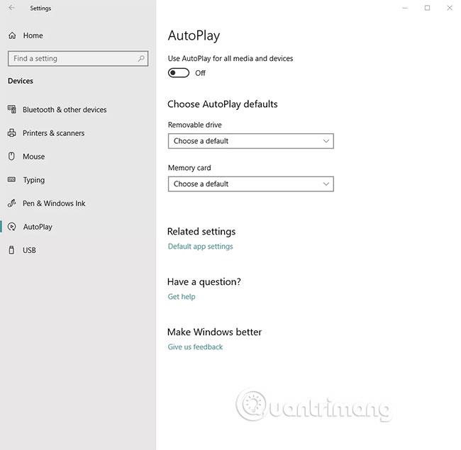 Vô hiệu hóa AutoPlay trong Windows 10