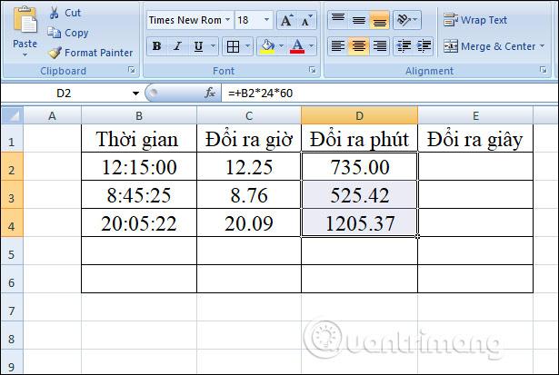 Cách chuyển đổi thời gian trong Excel - Ảnh minh hoạ 8