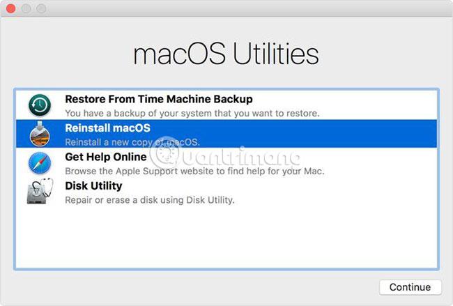 Cài đặt lại thông qua macOS Recovery