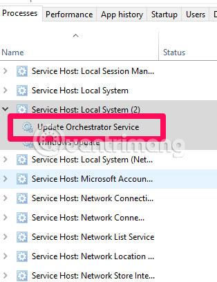 """Trong trình quản lý tác vụ, xác định vị trí của """"usoclient.exe"""""""