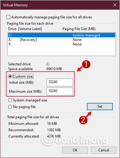 Thiết lập giá trị Initial size và Maximum size gấp 2 hoặc 2,5 lần kích thước RAM