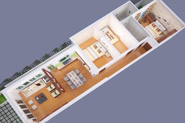 Bản vẽ mặt bằng mẫu nhà cấp 4 gồm 3 phòng ngủ mái thái hiện đại.