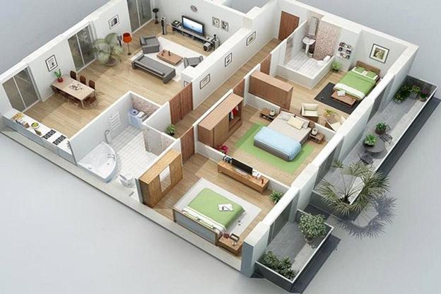 Bản vẽ mặt bằng mẫu nhà cấp 4 gồm 3 phòng ngủ kiểu nhà vườn cực đẹp.