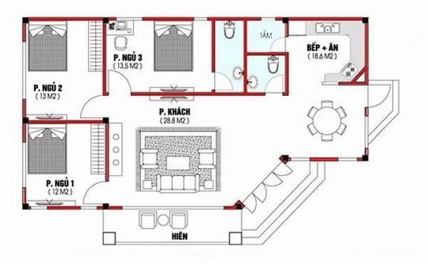 Bản vẽ mặt bằng mẫu nhà cấp 4 gồm 3 phòng ngủ hiện đại.