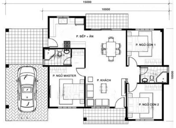 Bản vẽ mặt bằng mẫu nhà cấp 4 gồm 3 phòng ngủ và gara.