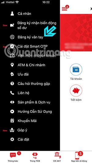 Hướng dẫn đăng ký vân tay F@st Mobile Techcombank