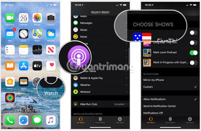 Các tập được xóa tự động khỏi Apple Watch sau khi bạn nghe chúng