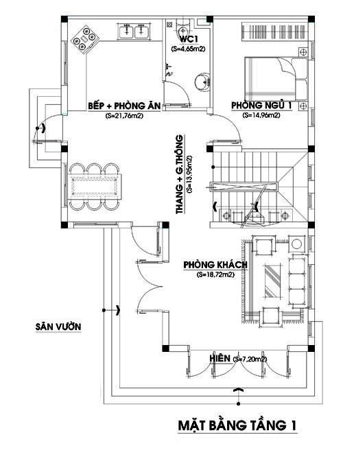 Mặt bằng tầng 1 nhà 2 tầng chữ L với diện tích 80m2