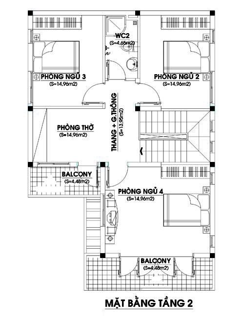 Mặt bằng tầng 2 nhà 2 tầng chữ L với diện tích 80m2